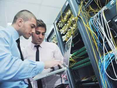 IT professionals checking the servers
